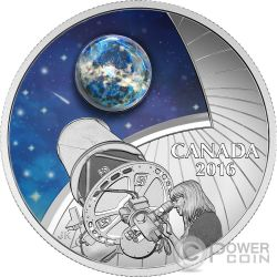 THE UNIVERSE Opal Glass Glow In The Dark Silver Coin 20$ Canada 2016