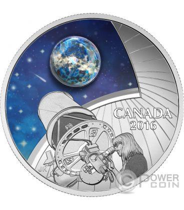 THE UNIVERSE Universo Vetro Opale Glow In The Dark Moneta Argento 20$ Canada 2016
