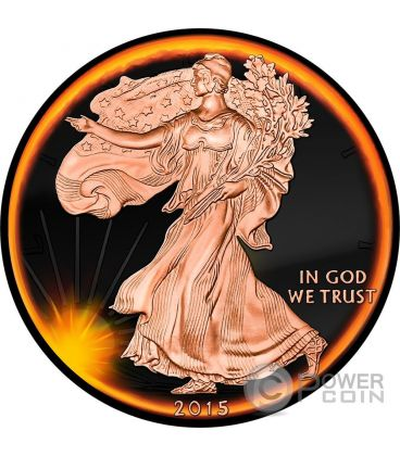LIBERTY Sun Eclipse Eclissi Solare Moneta Argento 1$ US Mint 2015