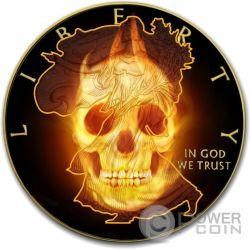 BURNING LIBERTY SKULL Fire Black Ruthenium Gold 1 Oz Silber Münze 1$ USA 2015