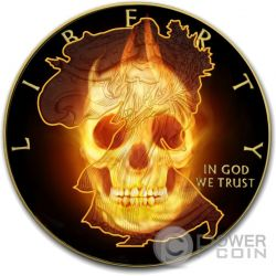 BURNING LIBERTY SKULL Fire Black Ruthenium Gold 1 Oz Silver Coin 1$ US Mint 2015