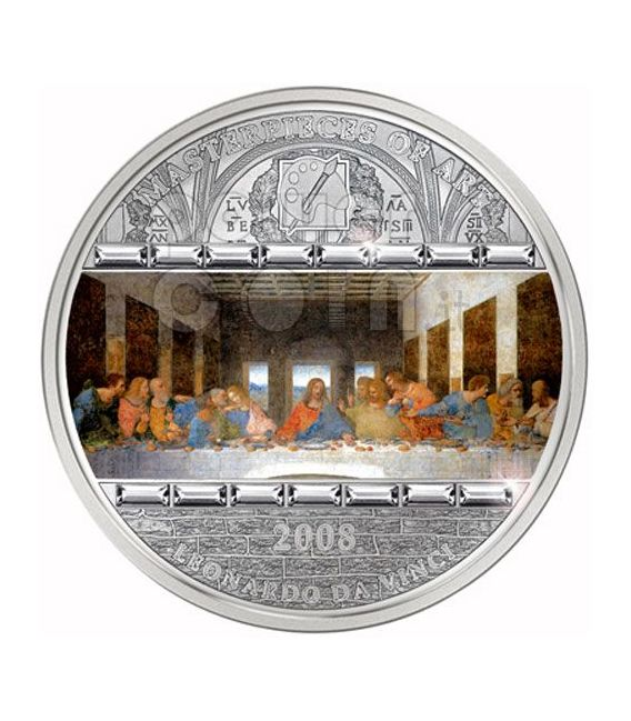 LAST SUPPER Leonardo Da Vinci 3 Oz Moneda Plata 20$ Cook Islands 2008