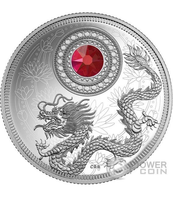 BIRTHSTONES JANUARY Gemstone Swarovski Silver Coin 5$ Canada 2016