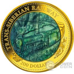 TRANS SIBERIAN RAILWAY 100 Anniversary Mother Of Pearl 5 Oz Moneda Oro 200$ Cook Islands 2016