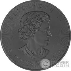 BURNING MAPLE LEAF Fire Black Ruthenium Gold 1 Oz Silver Coin 5$ Canada 2014