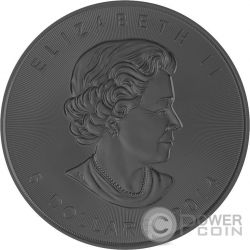 BURNING MAPLE LEAF Foglia Fuoco Nera Rutenio Moneta Argento 5$ Canada 2014