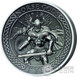TYR Norse Gods High Relief 2 Oz Silver Coin 10$ Cook Islands 2015