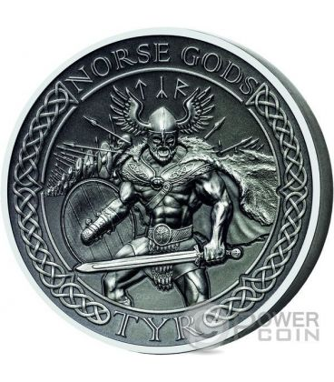 TYR Norse Gods Alti Rilievi Moneta Argento 2 Oz 10$ Cook Islands 2015