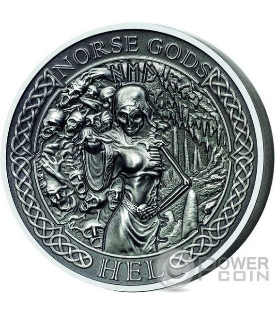 HEL Norse Gods Alti Rilievi Moneta Argento 2 Oz 10$ Cook Islands 2015