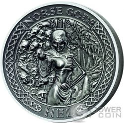 HEL Norse Gods High Relief 2 Oz Silver Coin 10$ Cook Islands 2015