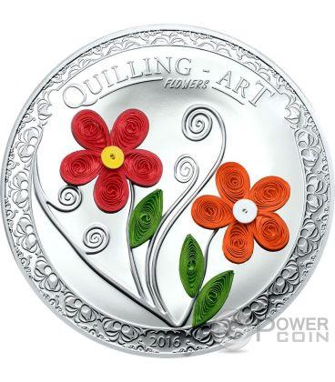 QUILLING ART FLOWERS Handmade Silver Coin 2$ Cook Islands 2016