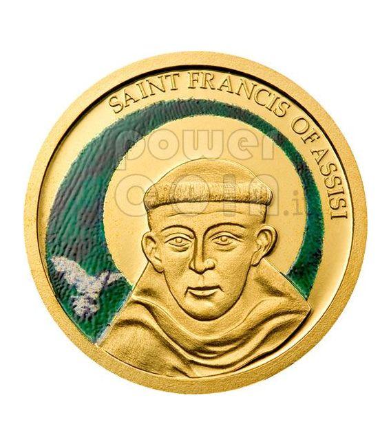 SAN FRANCESCO DA ASSISI Moneta Oro a Colori 1$ Palau 2008