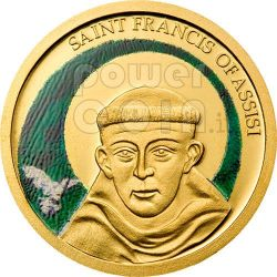 SAN FRANCESCO DA ASSISI Moneta Oro Puro 999 a Colori 1$ Palau 2008