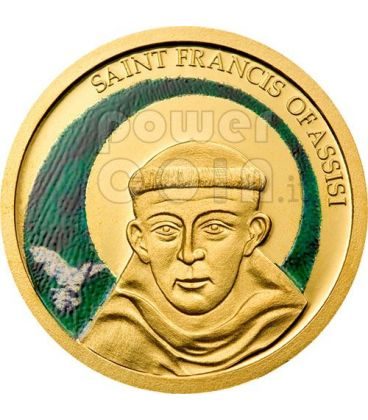 SAN FRANCESCO DA ASSISI Moneta Oro Puro 999 a Colori 1$ Palau 2008