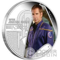 CAPTAIN JONATHAN ARCHER Star Trek Enterprise Moneta Argento 1$ Tuvalu 2015