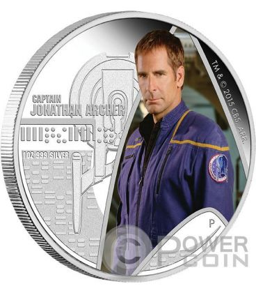 CAPTAIN JONATHAN ARCHER Star Trek Enterprise Silver Coin 1$ Tuvalu 2015