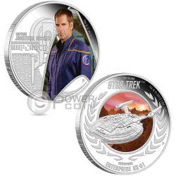 CAPTAIN JONATHAN ARCHER ENTERPRISE NX-01 Star Trek Two Moneda Plata Set 1$ Tuvalu 2015
