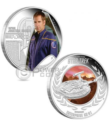 CAPTAIN JONATHAN ARCHER ENTERPRISE NX-01 Star Trek Set Moneta Argento 1$ Tuvalu 2015