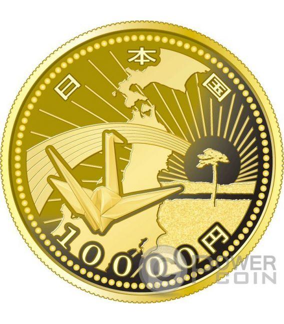 ORIGAMI CRANE EARTHQUAKE RECONSTRUCTION Program Gold Proof Coin 10000 Yen Japan 2015