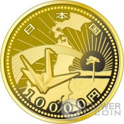ORIGAMI CRANE EARTHQUAKE RECONSTRUCTION Program Gold Proof Coin 10000 Yen Japan 2015
