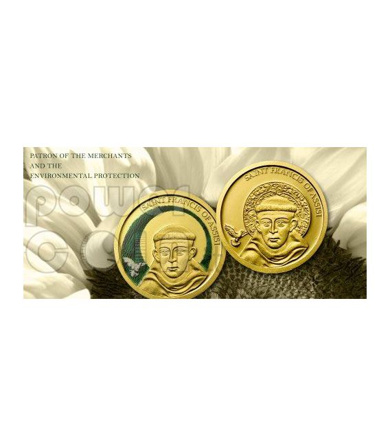 SAINT FRANCIS OF ASSISI Gold Coin Colorized 1$ Palau 2008