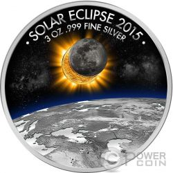 ECLIPSE OF THE SUN Eclisse Solare 3 Oz Moneta Argento 1500 Franchi Burkina Faso 2015