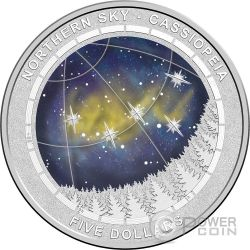CASSIOPEIA CONSTELLATION Northern Sky Curved Domed Plata Proof Moneda 5$ Australia 2016