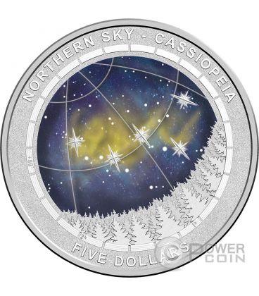 COSTELLAZIONE DI CASSIOPEIA Cielo Boreale Northern Sky Moneta Argento 5$ Australia 2016
