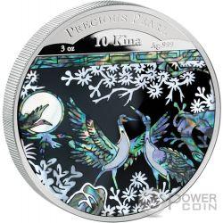 PRECIOUS PEARL CRANES Shell Money Craftsmanship 3 Oz Серебро Монета 10 Кина Папуа Новая Гвинея 2014