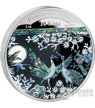 PRECIOUS PEARL CRANES Shell Money Craftsmanship 3 Oz Silver Coin 10 Kina Papua New Guinea 2014