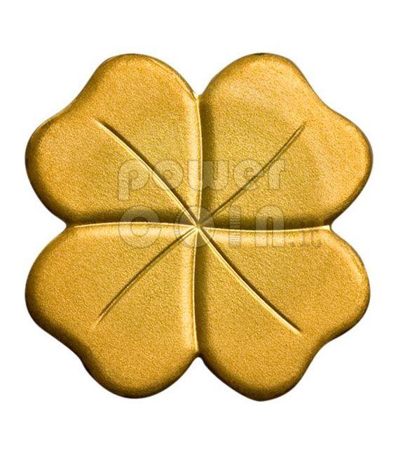 FOUR LEAF CLOVER GOLD Coin Lucky Charm 1$ Palau 2008