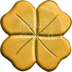 FOUR LEAF CLOVER GOLD 999 Coin Lucky Charm 1$ Palau 2008