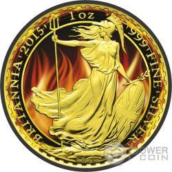 BURNING BRITANNIA Fuoco Nera Rutenio Moneta Argento 2£ Regno Unito 2015