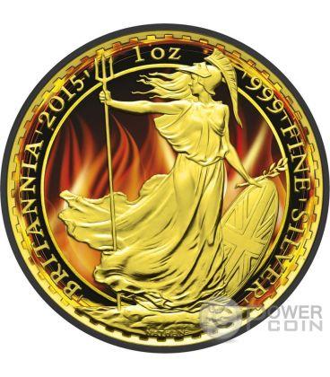 BURNING BRITANNIA Black Ruthenium 1 Oz Silver Coin 2£ United Kingdom 2015