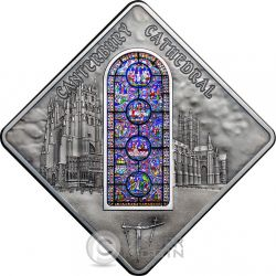 CANTERBURY CATHEDRAL Holy Windows Серебро Монета 10$ Палау 2015