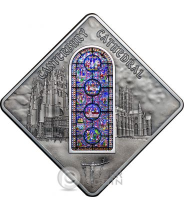 CANTERBURY CATHEDRAL Cattedrale Holy Windows Moneta Argento 10$ Palau 2015