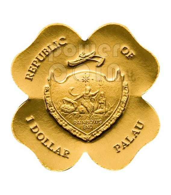 FOUR LEAF CLOVER GOLD Moneda Lucky Charm 1$ Palau 2008