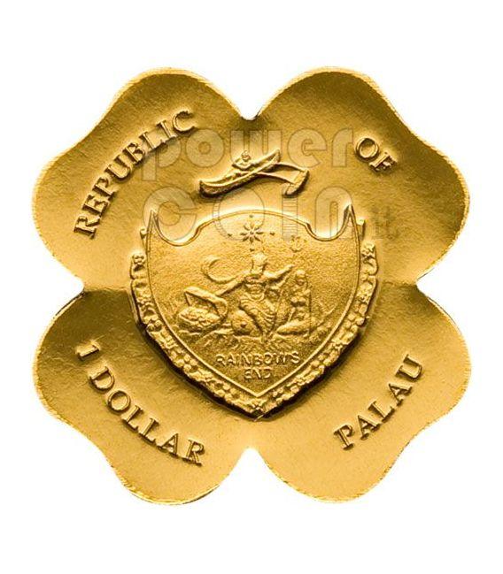 QUADRIFOGLIO ORO Moneta Portafortuna 1$ Palau 2008