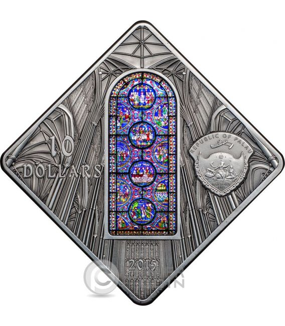 CANTERBURY CATHEDRAL Holy Windows Silver Coin 10$ Palau 2015