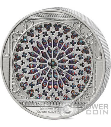 WINDOWS OF HEAVEN GIANTS Notre Dame Cathedral Silver Coin 35$ Cook Islands 2015