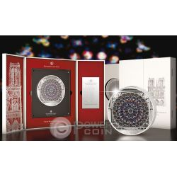 WINDOWS OF HEAVEN GIANTS Notre Dame Cathedral Серебро Монета 35$ Острова Кука 2015