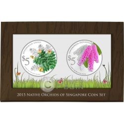 ORCHIDS Native 2 Серебро Proof Монета Set 5$ Сингапур 2015