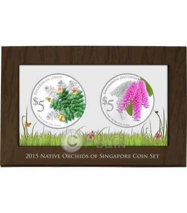 ORCHIDEE Native Set 2 Monete Argento Proof 5$ Singapore 2015