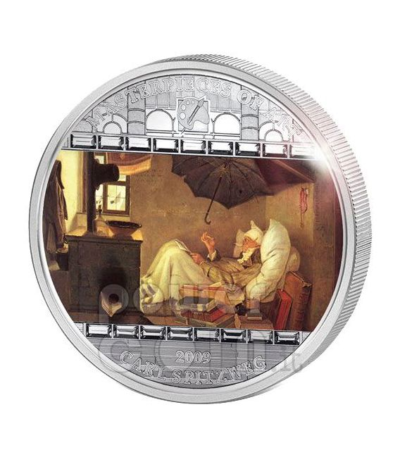 POOR POET Carl Spitzweg 3 Oz Moneda Plata 20$ Cook Islands 2009