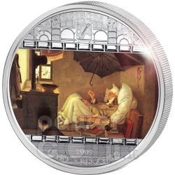 POVERO POETA Carl Spitzweg Moneta Argento 3 Oz 20$ Cook Islands 2009