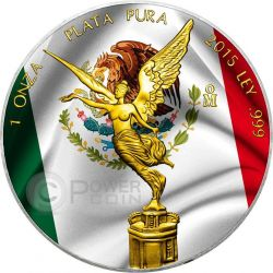 MEXICAN LIBERTAD Flag Bandiera 1 Oz Moneta Argento Messico 2015