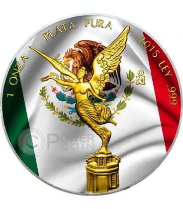 MEXICAN LIBERTAD Flag 1 Oz Silver Coin Mexico 2015