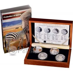 PRESTIGE SET BENIN Protection of Nature Elephant Zebra Rhino 1 oz Silver Coin Benin 2015