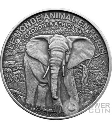ELEPHANT IN DANGER Elefante 1 Oz Moneta Argento 1000 Franchi Costa Avorio 2016