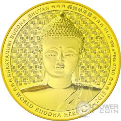 SHAKYAMUNI BUDDHA World Heritage 1/4 Oz Moneda Oro Bhutan 2015
